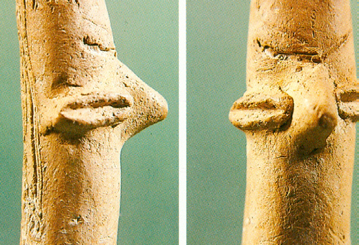The head, part of a miniature idol, anthropomorphic plastic, Early Neolithic (around 5000 BC)
